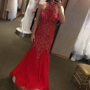 High Neck Fitted Flare Prom Dress